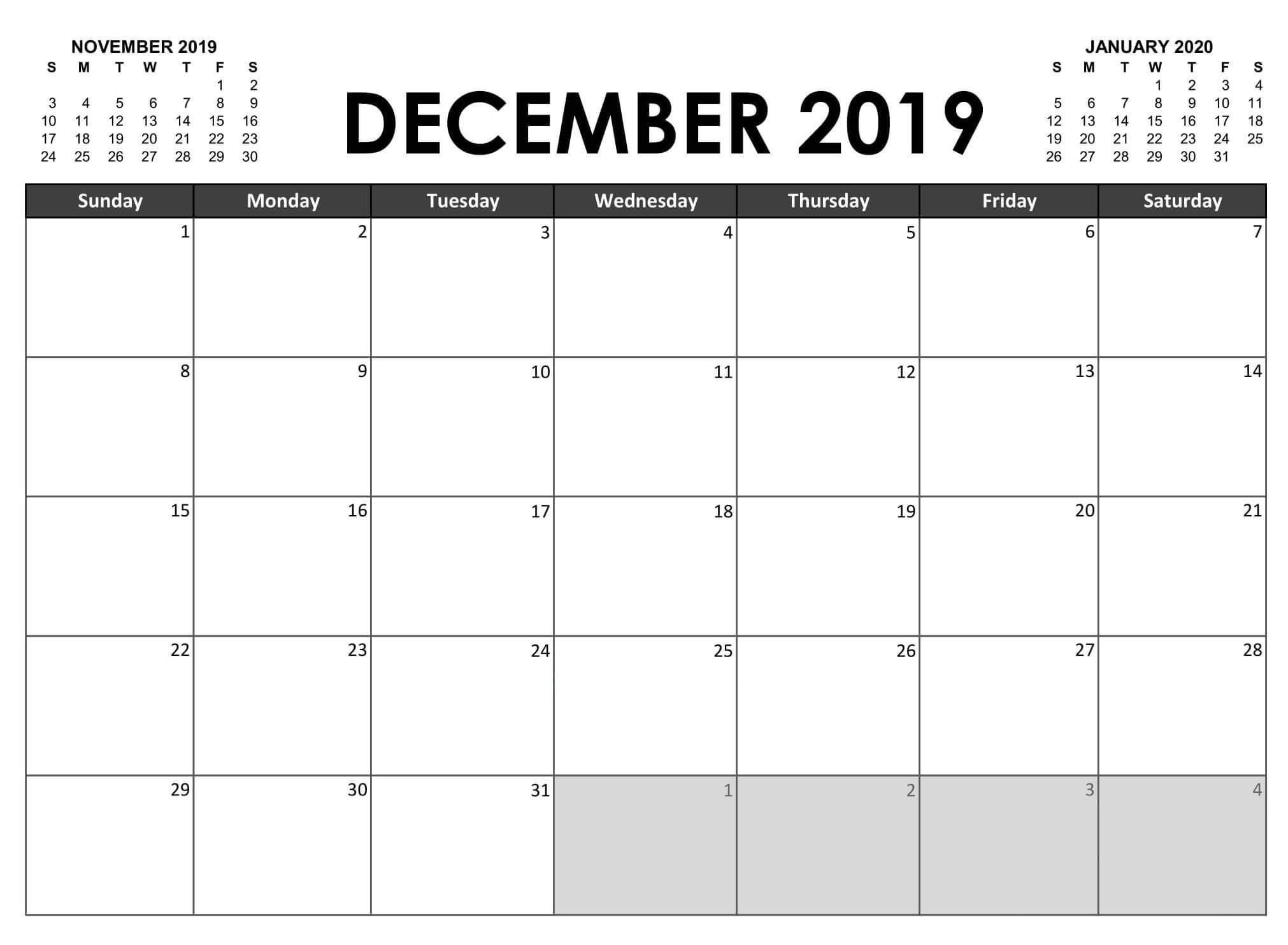 Fillable Calendar December 2019 Printable