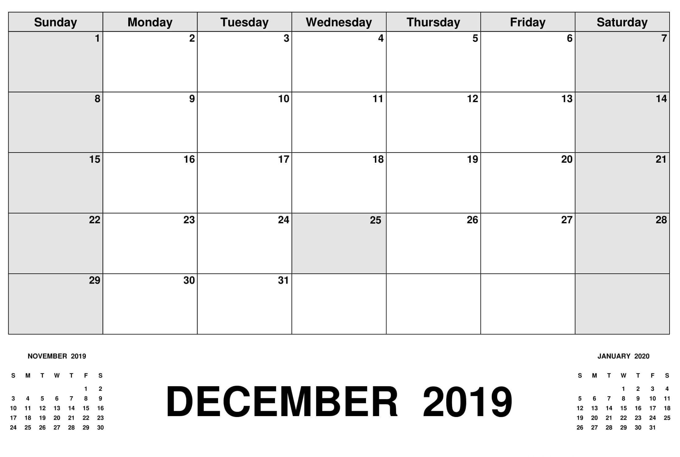 Fillable Calendar For December 2019 Template