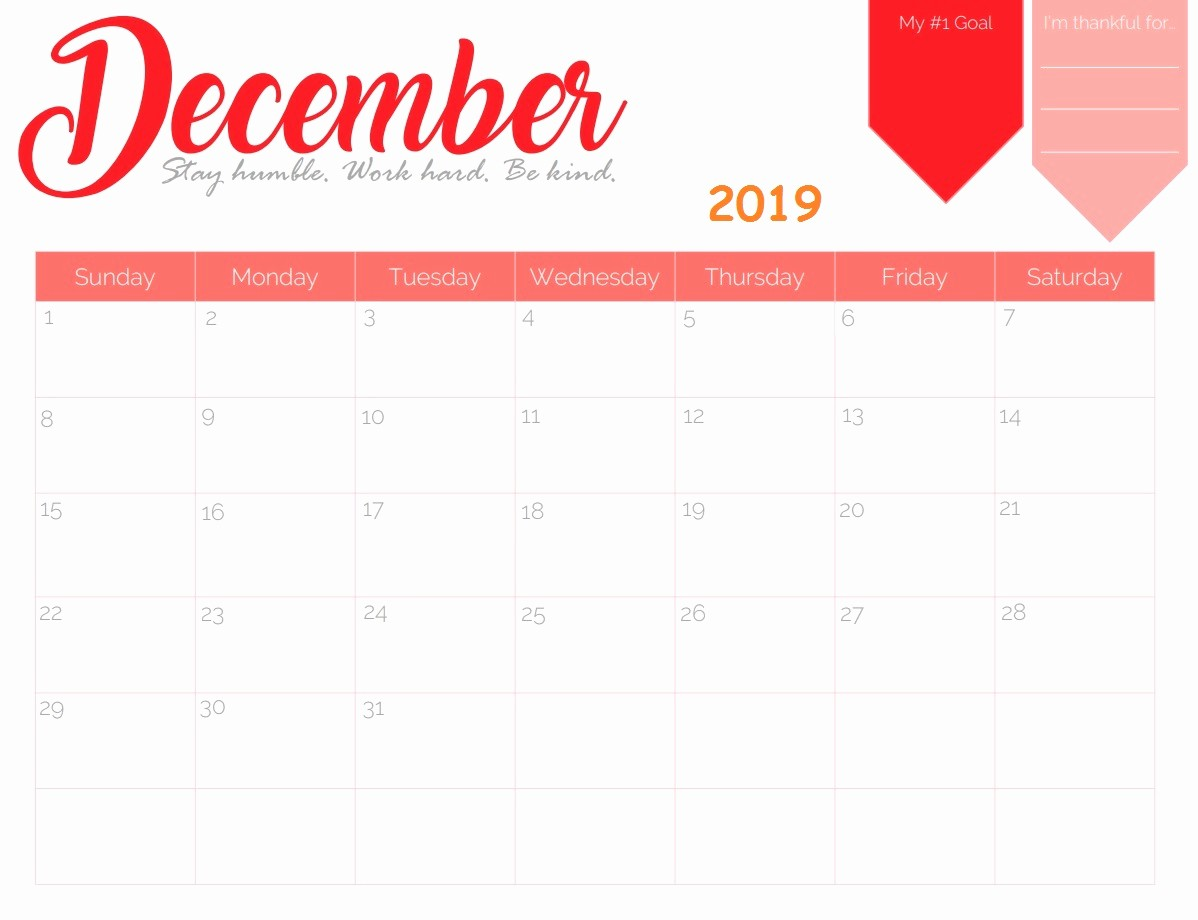 Fillable Printable 2019 Calendar for December with Note