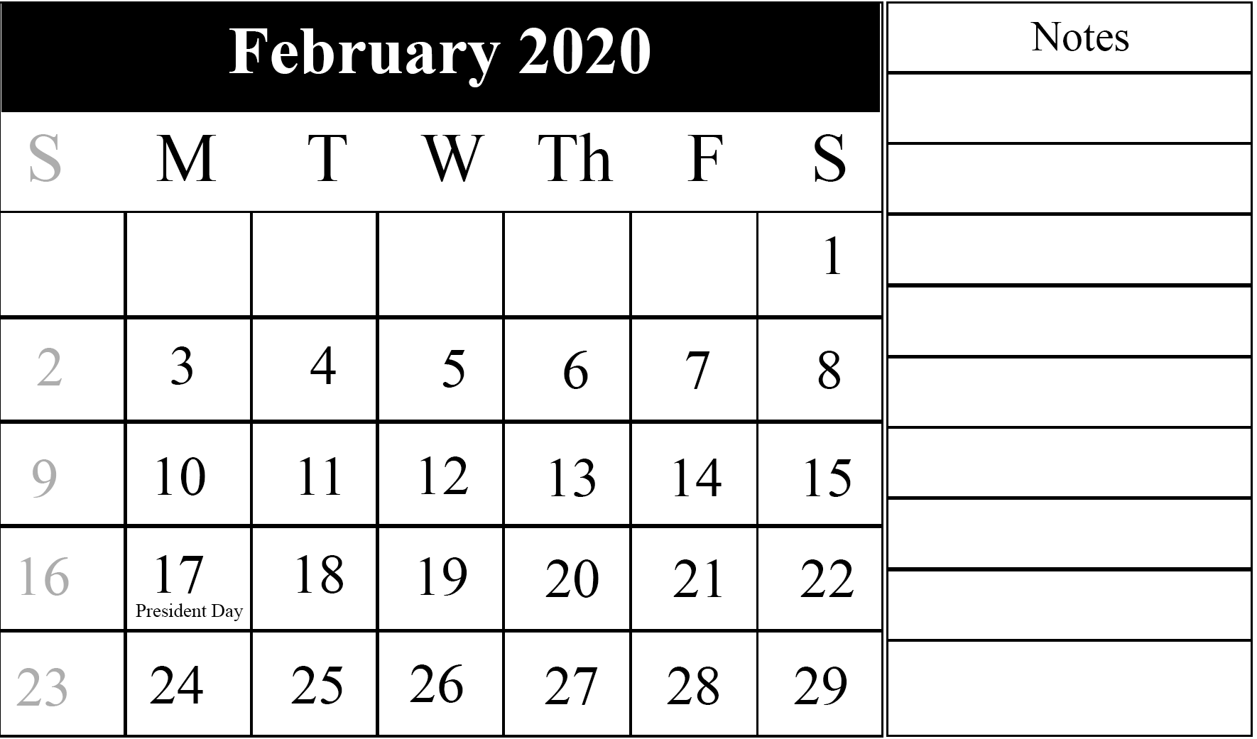 Fillable February 2020 Printable Calendar