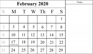 Fillable February Calendar 2020 Notes