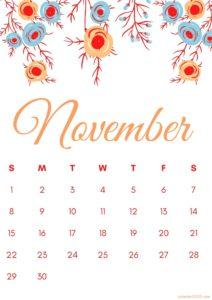 Floral November 2020 Calendar Printable Free