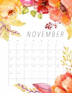 Floral November 2020 Office Desk Calendar