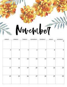 Floral November Calendar 2019