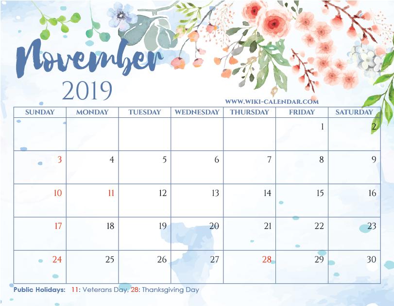 Floral November Calendar 2019 Template