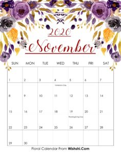 Floral November Calendar 2020 Template
