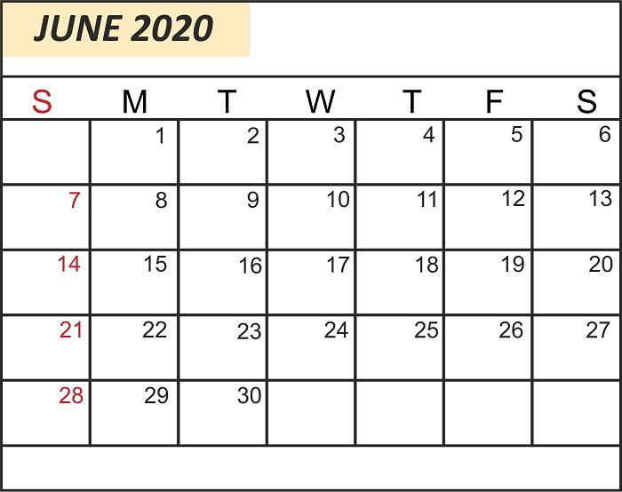 Free Editable June 2020 Calendar