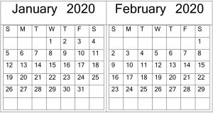 Free Printable January February 2020 Calendar Template