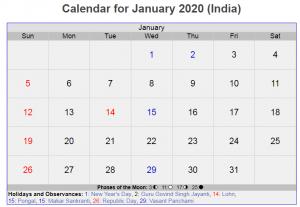 January 2020 Indian Holidays Calendar
