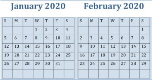 January February 2020 Calendar By Month Sheets