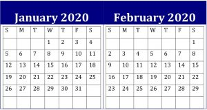 January February 2020 Calendar Planner PDF