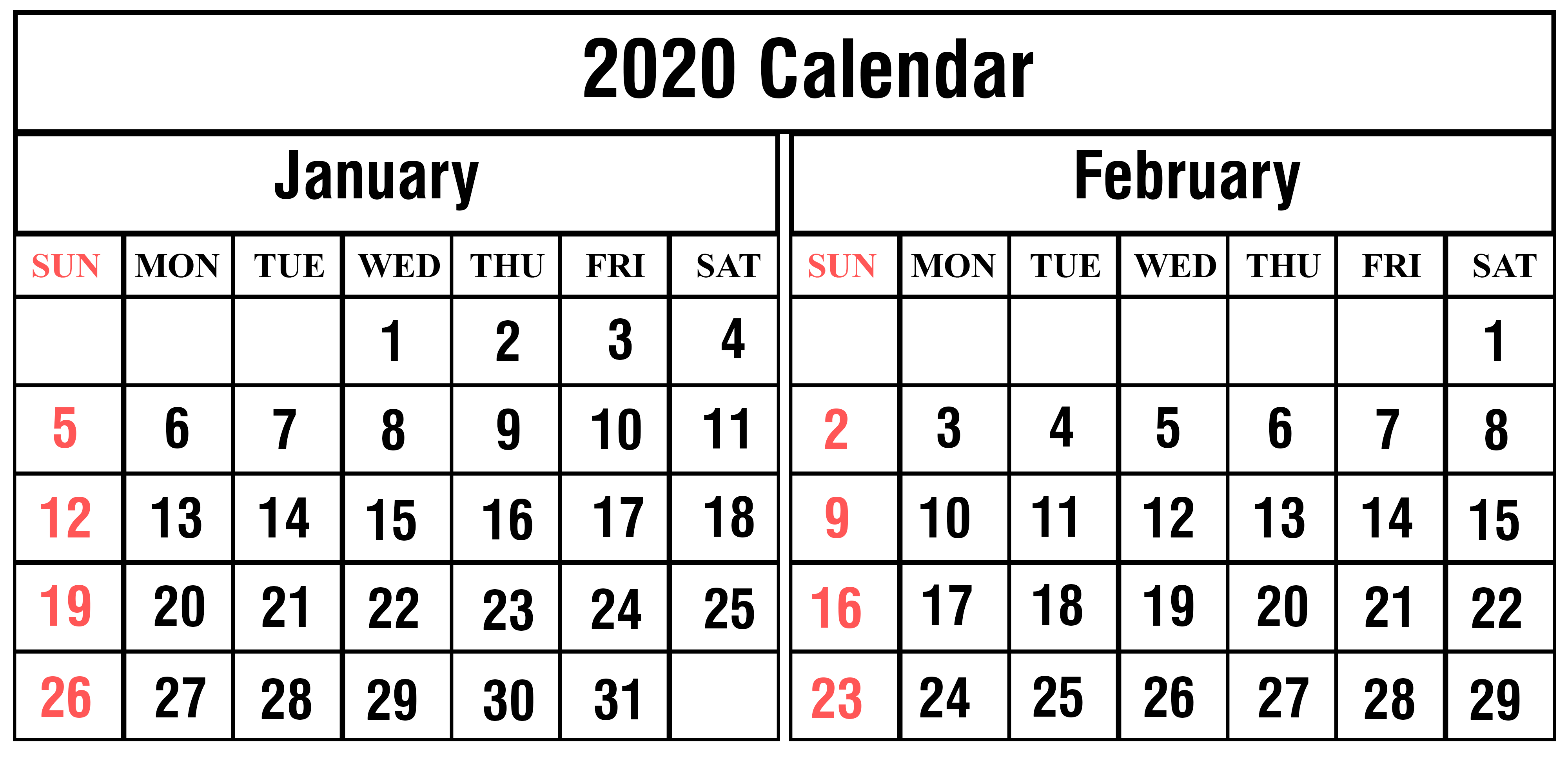 January February 2020 Calendar Printable