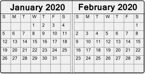 January February 2020 Excel Calendar With Week Number