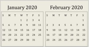 January February Google 2020 Calendar Large Print
