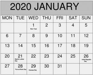 January Holidays Calendar 2020