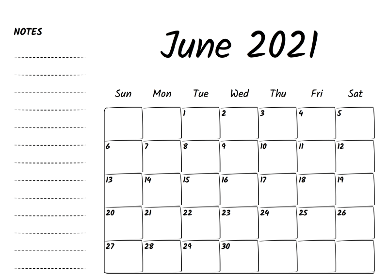 June Calendar 2021 with Notes