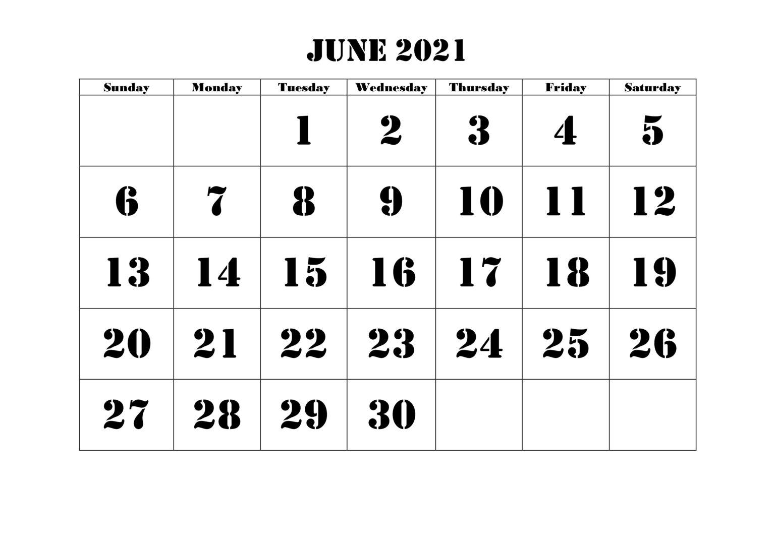 June calendar 2021 word