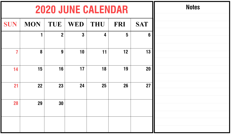 Monthly Calendar Template June 2020