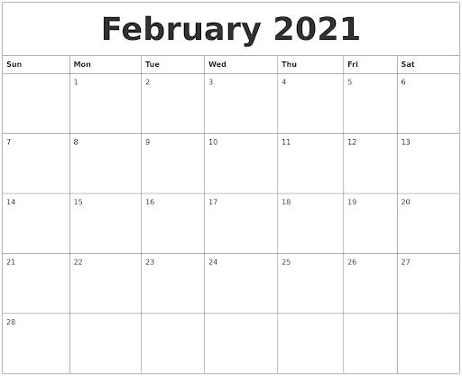 Monthly February 2021 Calendar