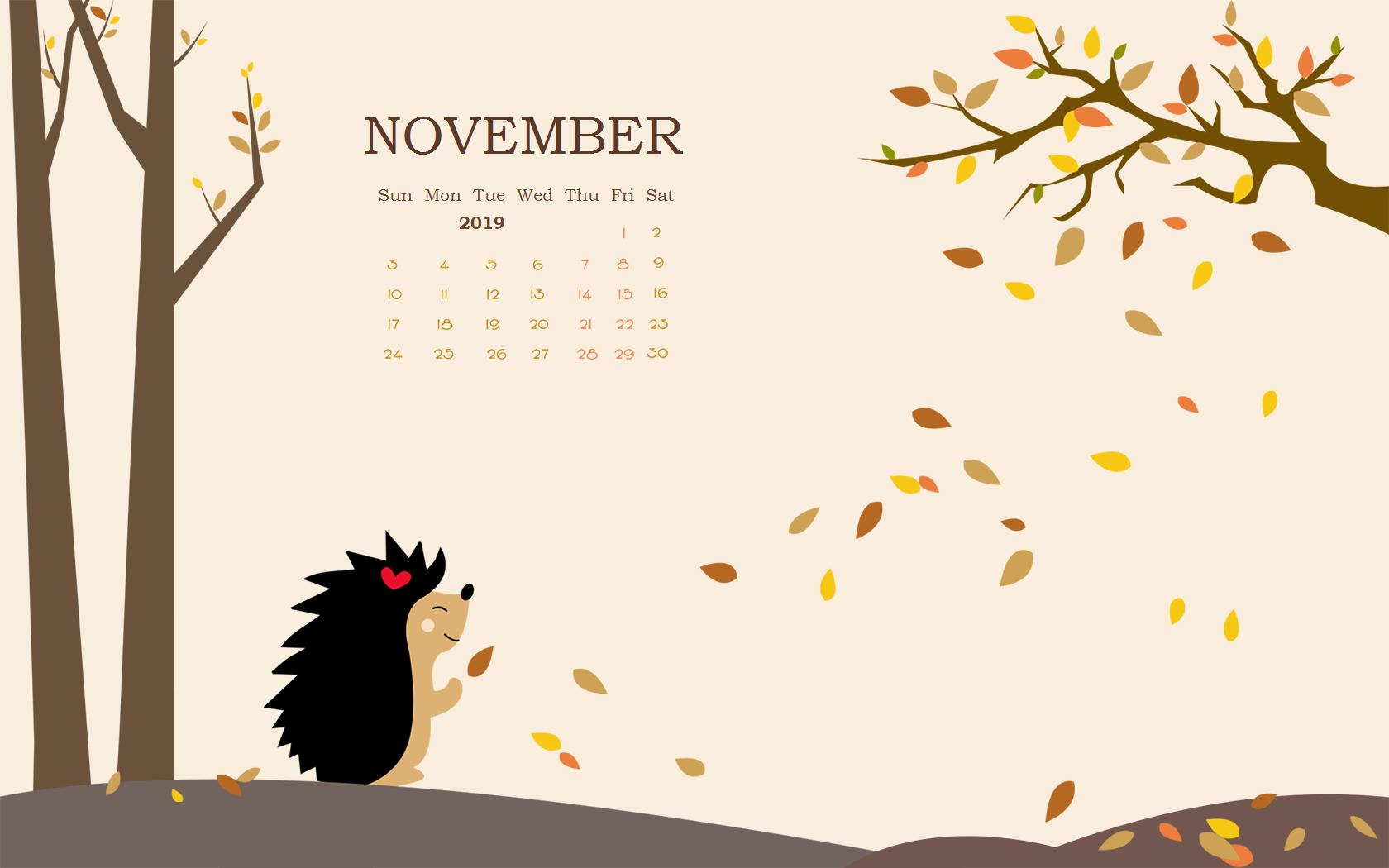 November 2019 HD Calendar Wallpaper
