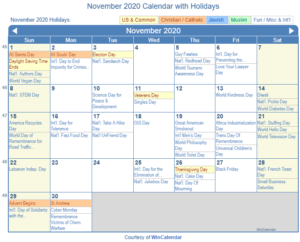 November 2020 Calendar with Holidays United States