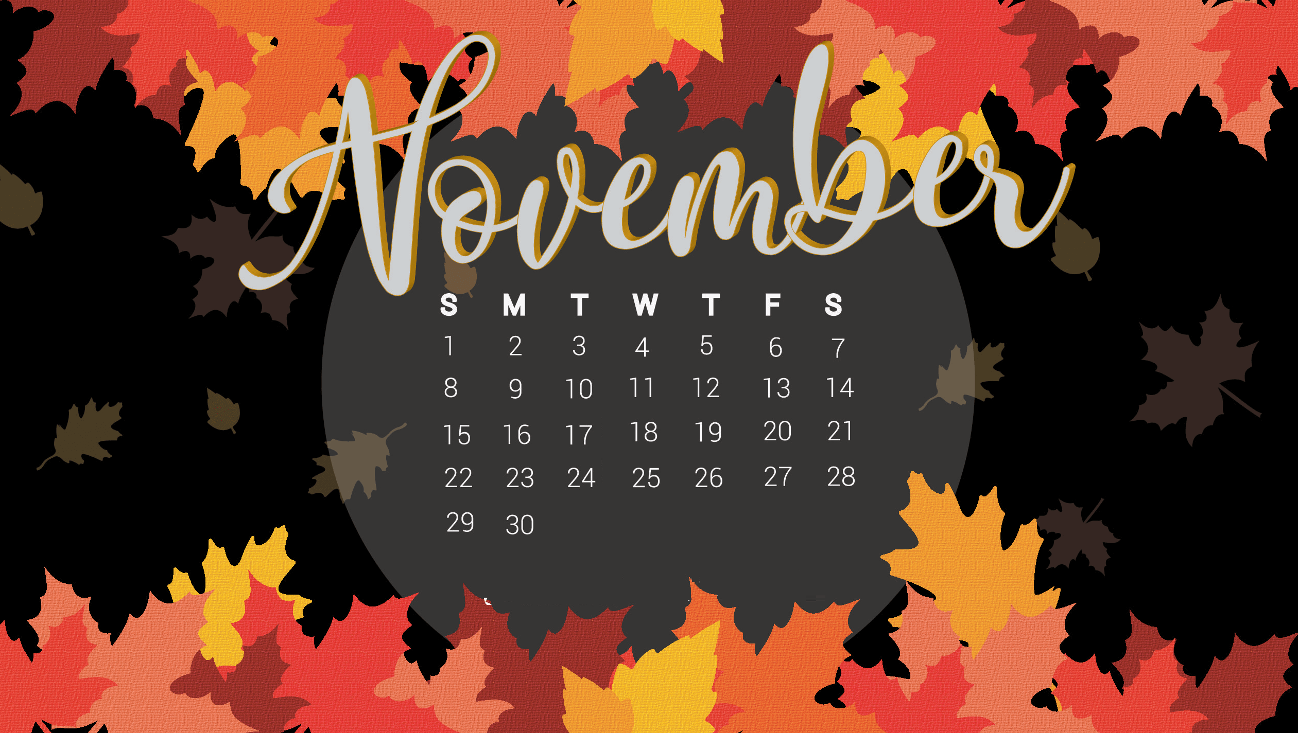 November 2020 Floral HD Calendar