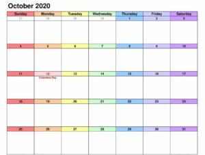 October 2020 Calendar Download