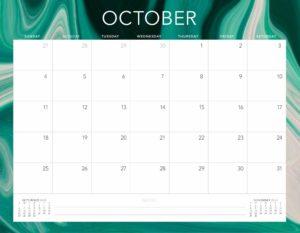 October 2020 Calendar Landscape