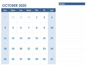 October 2020 Calendar Printable with Notes