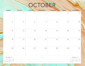 October 2020 Calendar USA