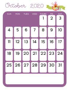 October 2020 Cute Calendar