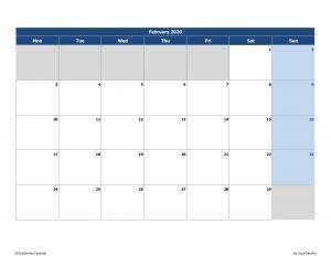 Print February Calendar 2020 Landscape