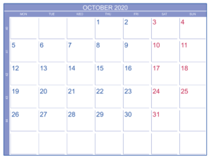 Print October 2020 Calendar Template