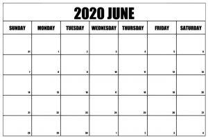 Printable Blank June 2020 Calendar