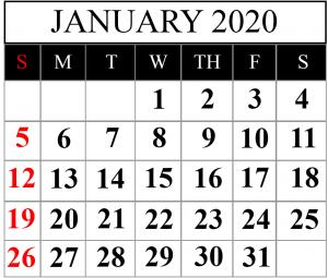Printable Calendar January 2020 Template