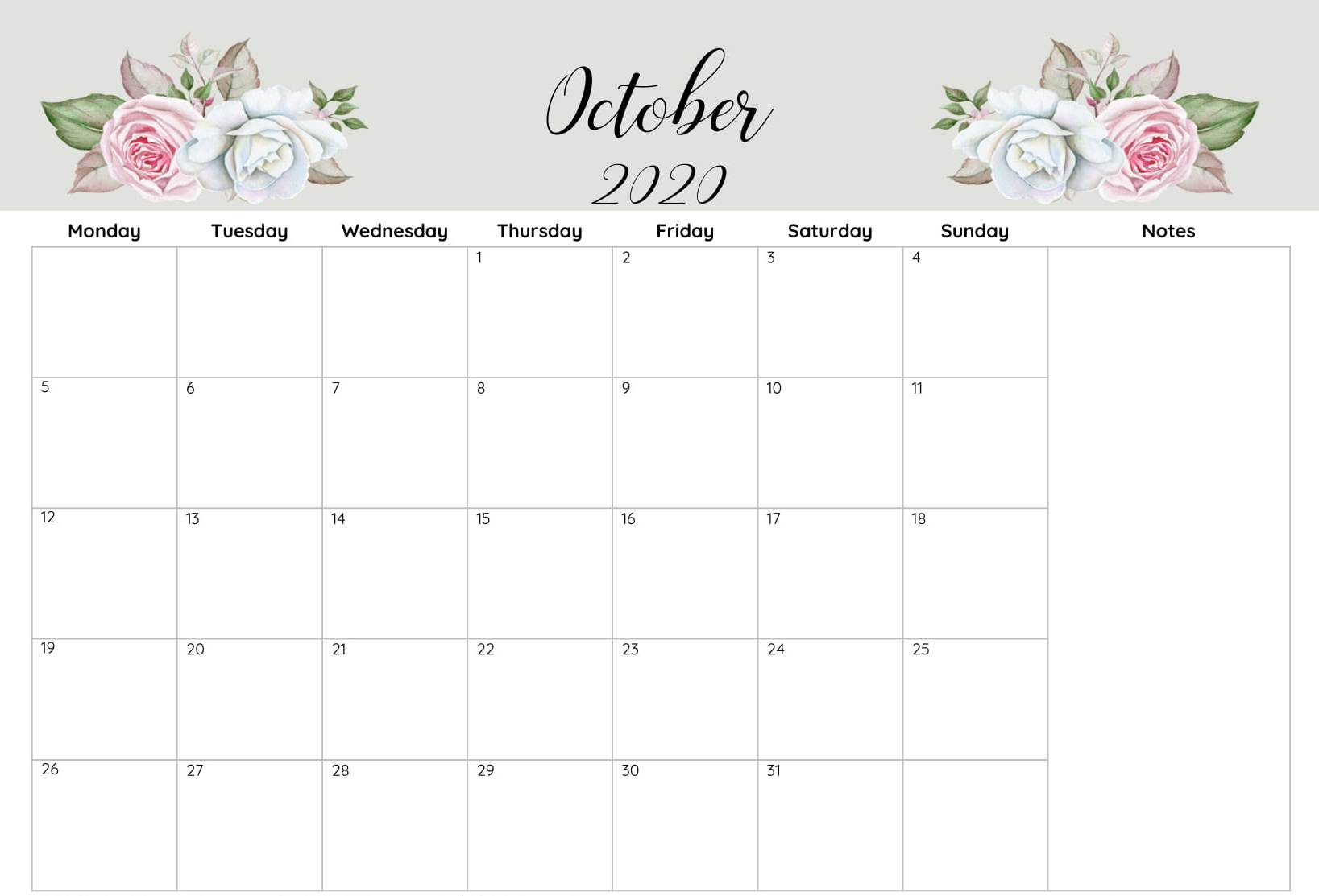Printable Calendar Of October 2020