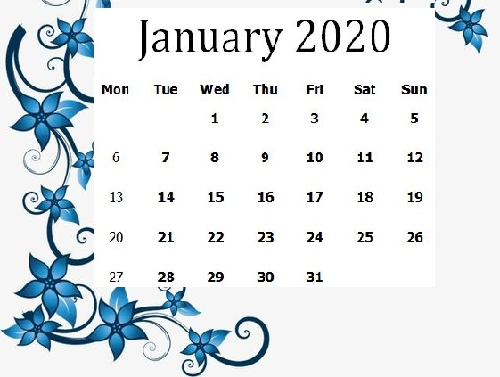 Printable Cute January 2020 Wall Calendar