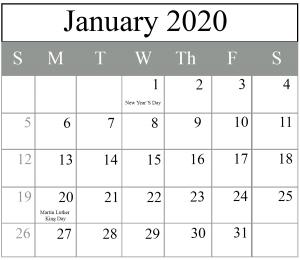 Printable January 2020 Holidays Calendar