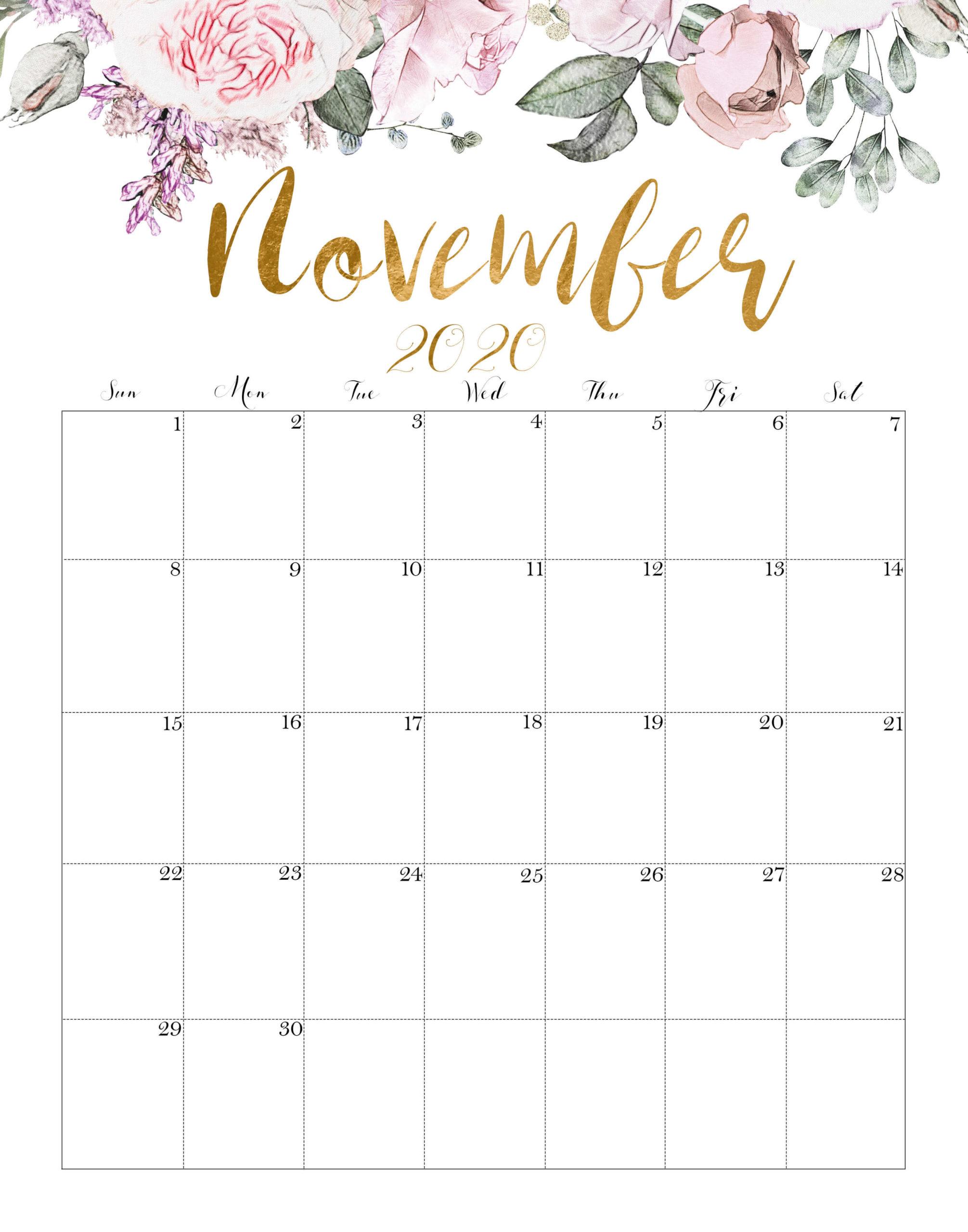 Printable November Calendar 2020 Floral
