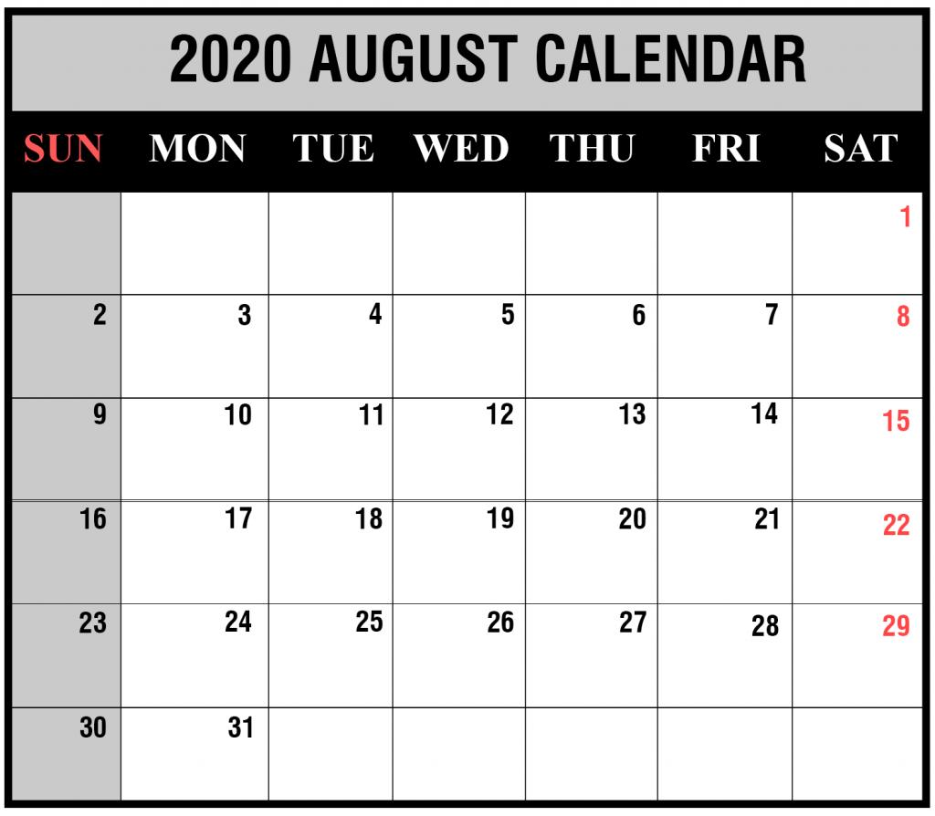 2020 Blank Calendar August