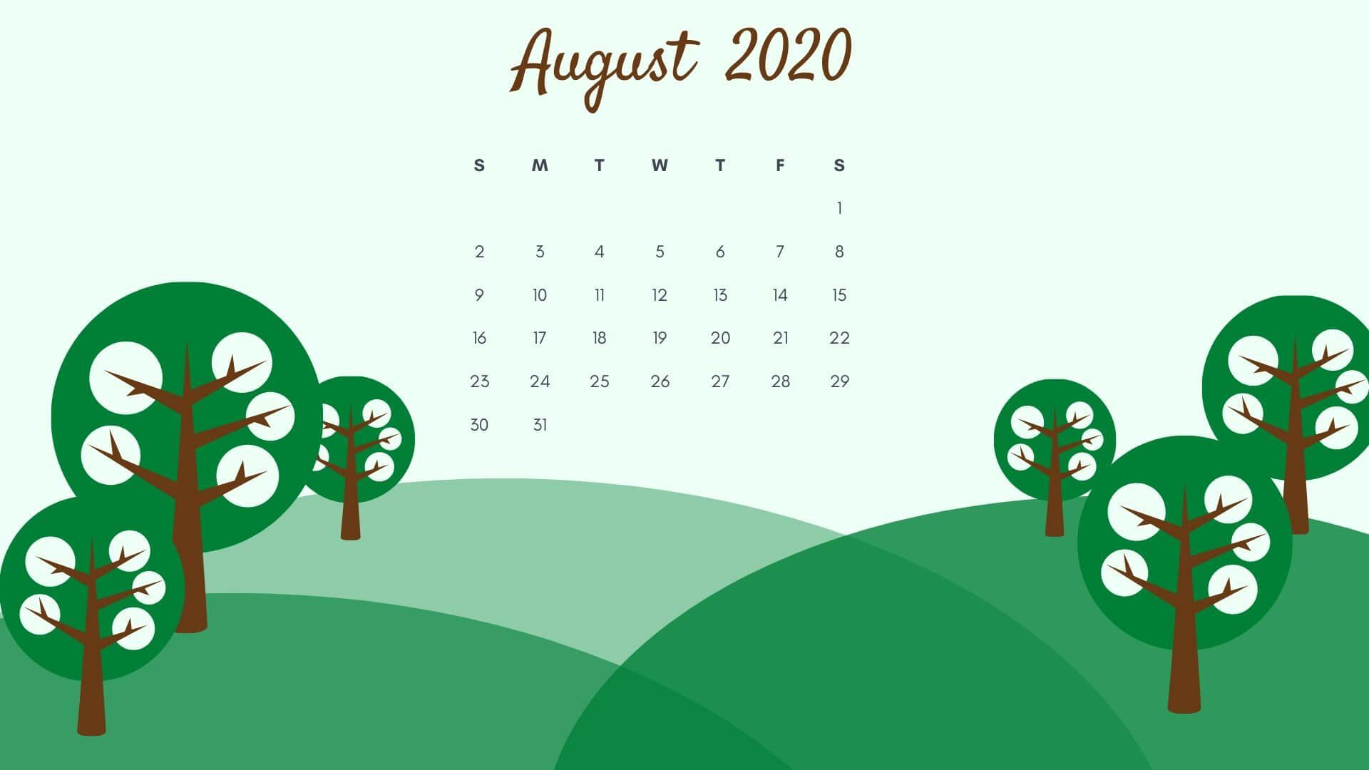 August 2020 Cute Desktop Wallpaper