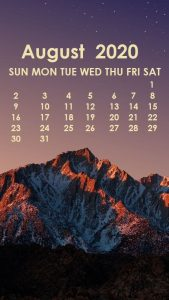 August 2020 iPhone Calendar Wallpaper