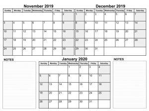 Blank November 2019 To January 2020 Calendar
