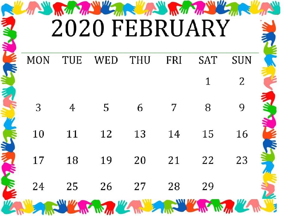 Cute February 2020 Calendar For Desk