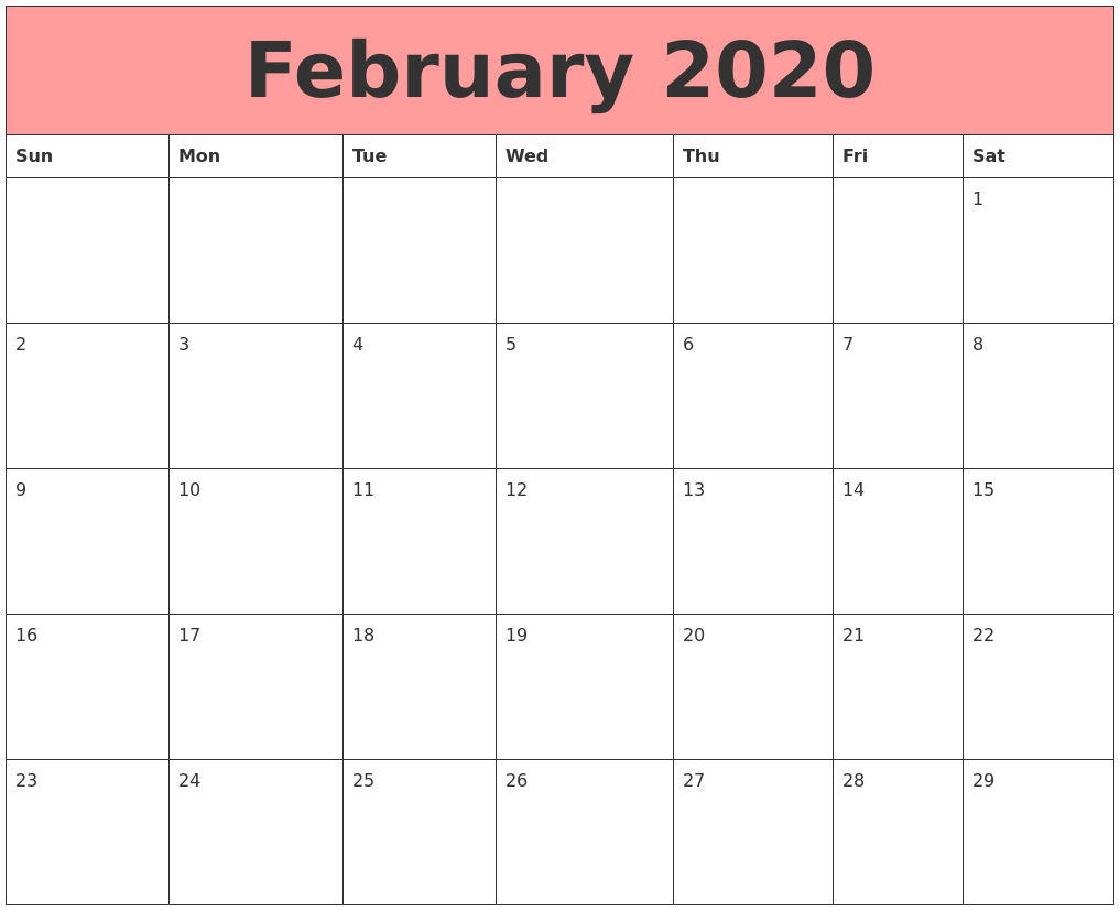 Cute February Calendar 2020