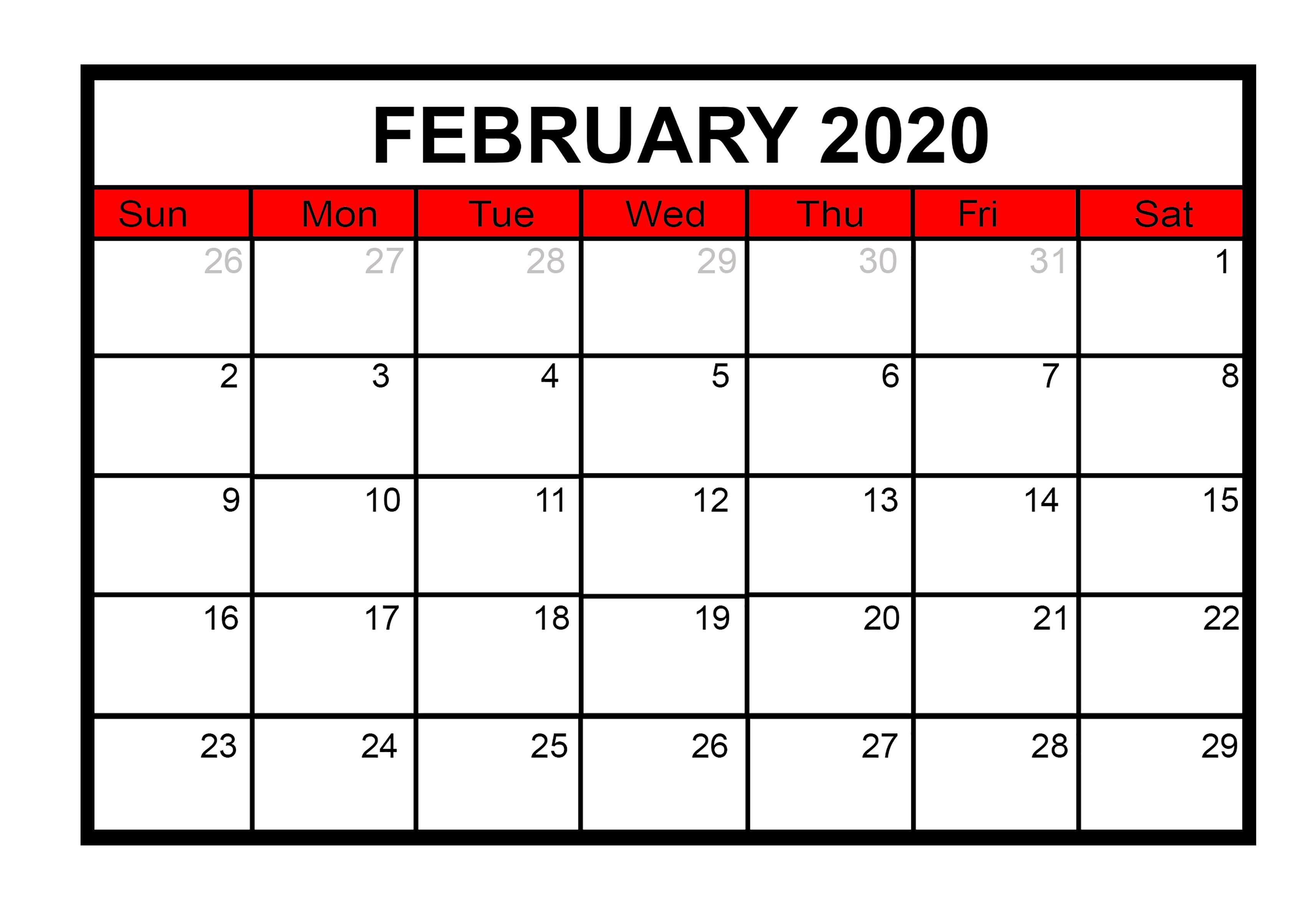 February 2020 Cute Calendar Template