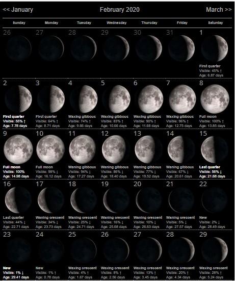 February 2020 Lunar Calendar