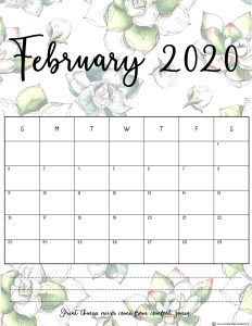 15 Cute February 2020 Calendar Floral Template For Desk Wall