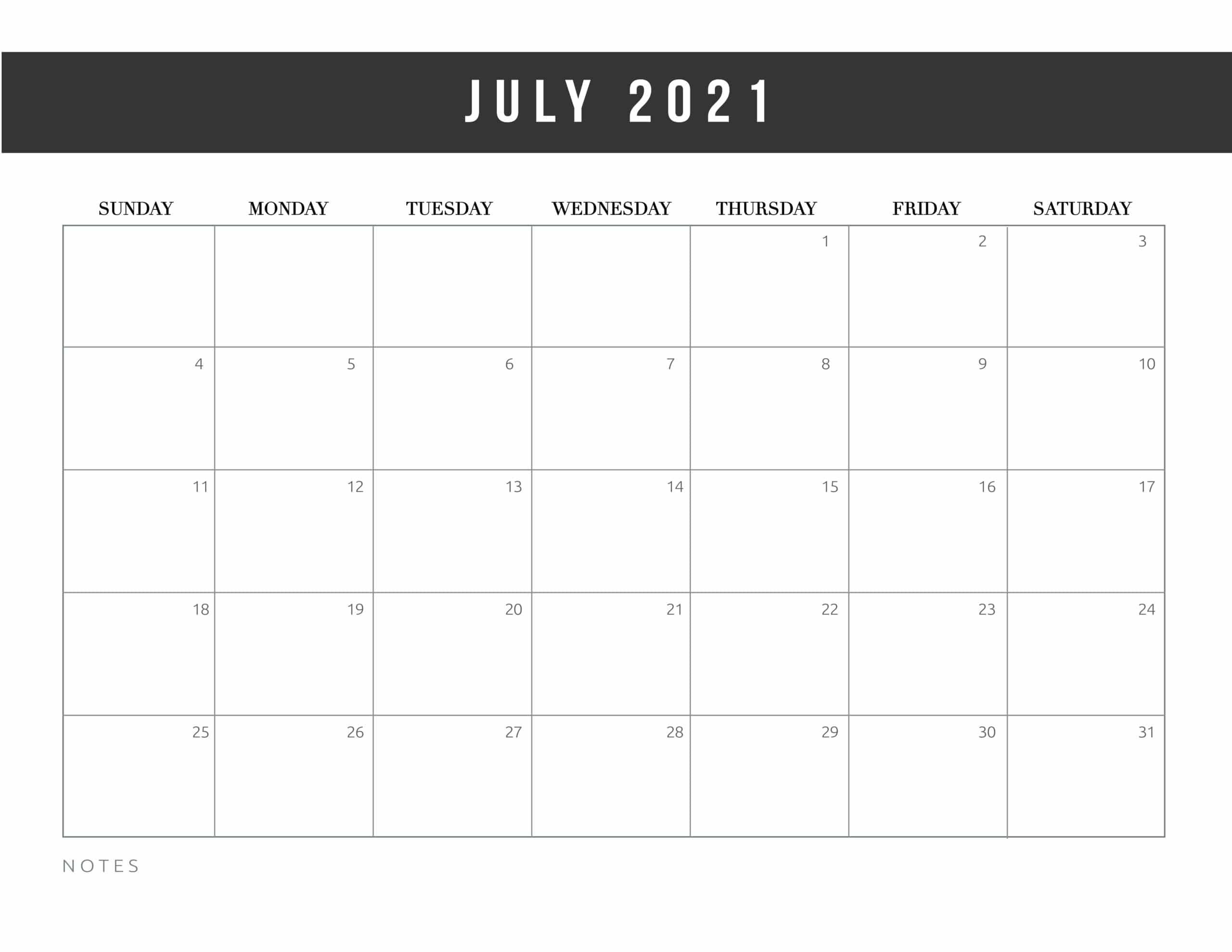 Free Monthly Printable July Calendar 2021