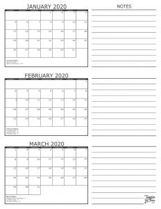 January February March 2020 Calendar Printable